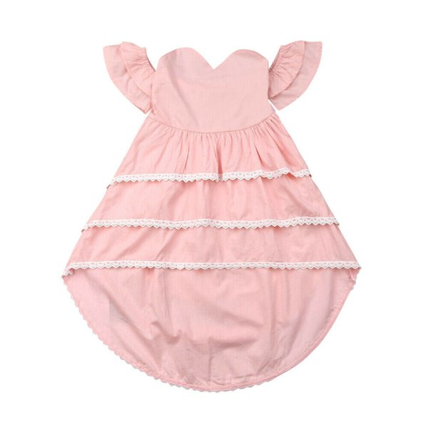 Emmababy 2019  Toddler Kid Baby Girl Summer Dress Lace Ruffle Princess Party Pageant Dresses 2-7Y
