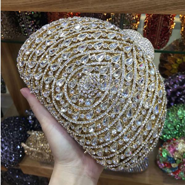 Cristallo diamante nero / rosa / rosso / oro / argento borse di sera della borsa del sacchetto di frizione sposa diamante frizione festa di nozze Minaudière signora