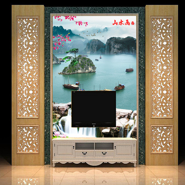 Custom 2019 Classic Chinese Style Extra Thick Landscape Painting Wallpaper Waterproof Easy To Clean For Home Decor Screen Wallpaper Screensaver