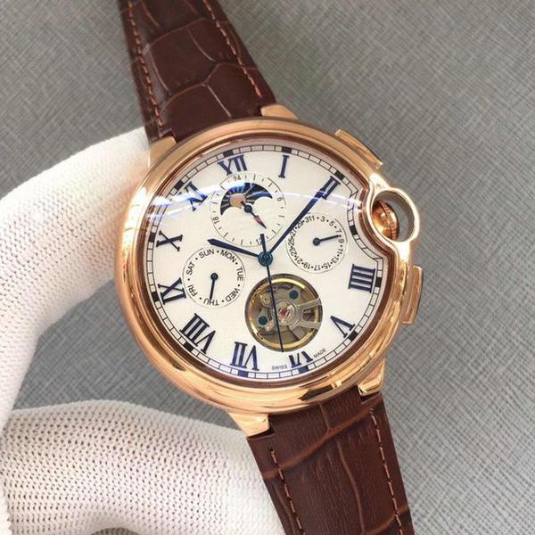 2019 RELÓGIOS de Luxo CAR BALLON fase da Lua de ouro Chronograph dial máquinas Genuine pulseira de couro Mens marca assista Gent Relógio de Pulso 3A 150