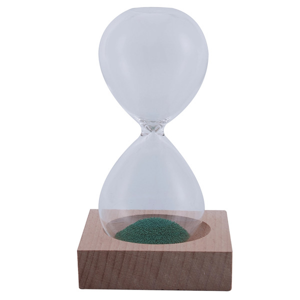 TOP!-Green wood + glass + iron sand iron flowering magnetic hourglass with packaging hourglass 13.5 * 5.5cm wooden seat 8
