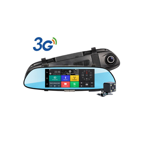 "3G 7"" HD 1080P Dual Lens Car DVR Rear View Mirror Camera Dash Cam Recorder GPS"