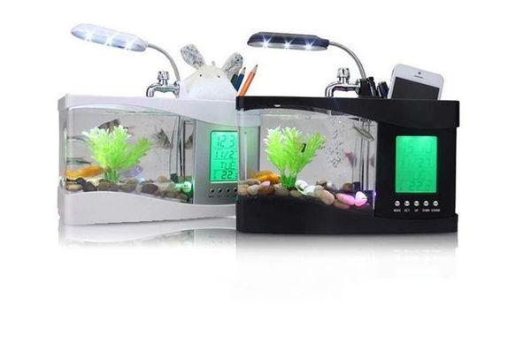 El más nuevo Mini USB LCD Lámpara de escritorio Luz Fish Tank Multi-función Acuario Luz LED Reloj Blanco / Negro Día de San Valentín regalo de Navidad