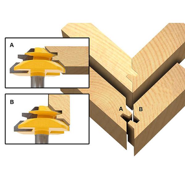 "Lock Miter Router Bit 45 Degree 1/2 Inch Shank Tenon Cutter Carbide Tipped Width 1-3/8"" Woodwork Drill Bit Milling Cutter Tools"