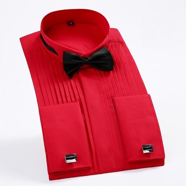Men's French Cuff Tuxedo Shirt Solid Color Wing Tip Collar Shirt Men Long Sleeve Dress Shirts Formal Wedding Bridegroom Shirt Y190506