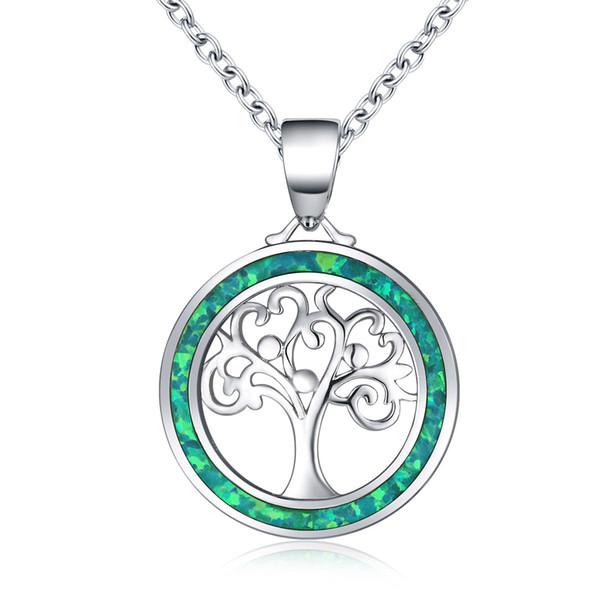 Güzel Yeşil Yangın Opal Hayat Ağacı Kolye Kolye Kadınlar Için 925 Ayar Gümüş Birthstone Takı Moda Gelin Aksesuar Hediye