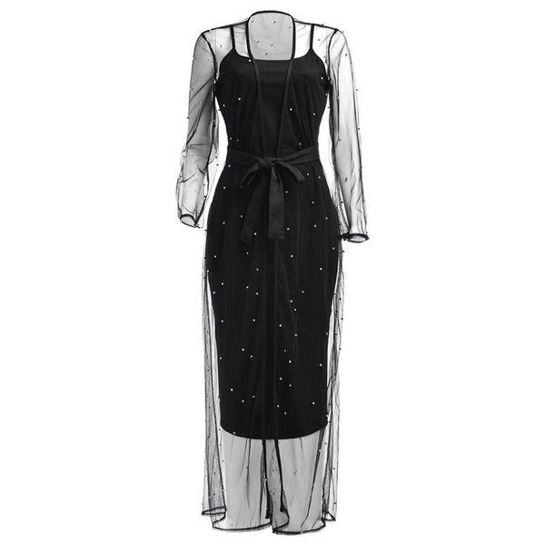 Mulheres 2 Conjuntos de Peças Casuais Elegante Senhora Do Escritório Do Vintage Preto Trench Coats Vestidos Bodycon Sólida Malha Talão Ternos Femininos de Verão