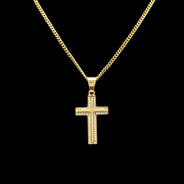316L Stainless Steel Gold color iced out hip hop cross shape pendant necklace with 24inch long cuban link chain