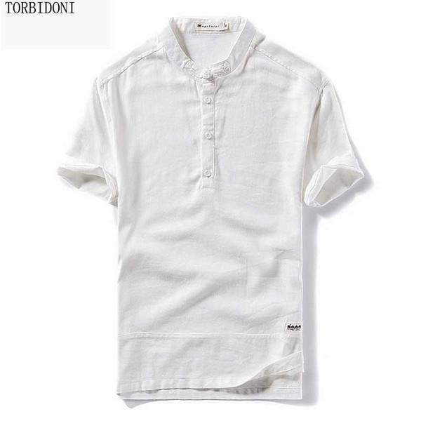 Mens T-shirt de Manga Curta Fina de Linho Vestido de Camisa de Negócios Sólidos Chemise Homme Camisas Casuais Desgaste do Trabalho Formais Magro Camisa Homem 5xl
