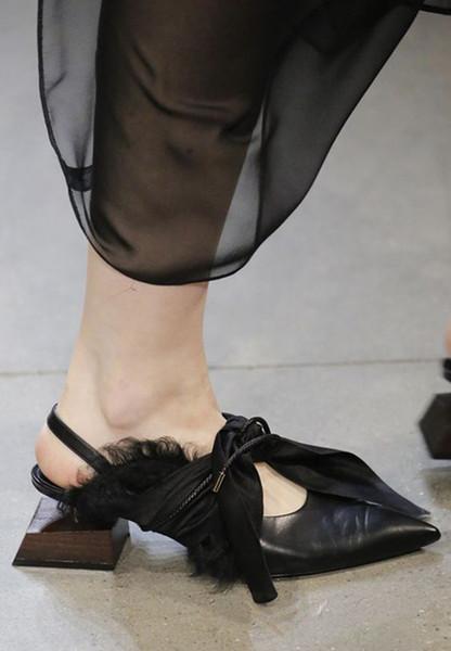 Neue Frühling Sommer Muller Schuhe Med Ferse Fliege Band T Show Womens Hausschuhe Schuhe
