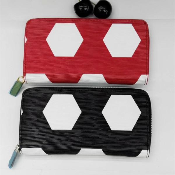 Negro / Rojo Marca de Lujo Billetera de Las Mujeres de Señora Long Square PU Billetera Tarjeta de Crédito Dama Carteras Bolsa de Dinero Cremallera Carteras de Fútbol Femenino P257