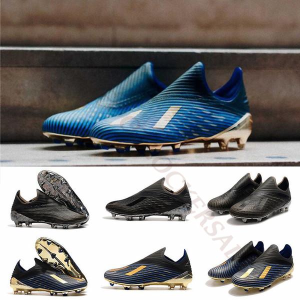 2019 X 19+ FG Kids Soccer Cleats Inner Game Dark Script Men Football Boots Laceless Redirect Pack chuteiras de futebol Shoes Size 35-45