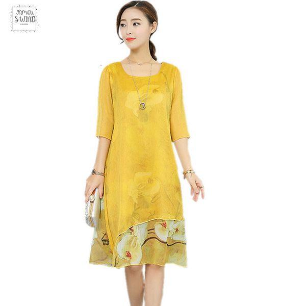 Mousseline de soie Vintage Floral Plus Size Femmes Casual longue desserrées été Beach Party robe élégante Vestidos Vêtements 2019 Robes