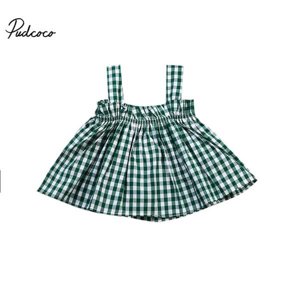 Nueva moda 2017 camisa de tela escocesa del resorte del otoño Niñas Blusas sin mangas bebé para 0-4years niños Blusas y Tops