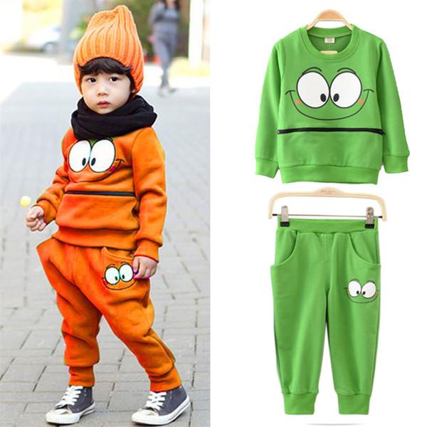 Sonbahar / kış Bebek Çocuk Erkek Kız Fermuar Gülümseme Yüz Yeşil / Turuncu Spor Suit Eşofman Tişört Tops + Harem Pantolon Kıyafetler