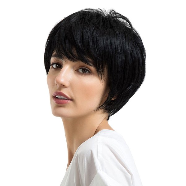 Layered Natural Straight Black Human Hair Wigs With Side Bangs Short Wigs>>>>Free shipping New High Quality Fashion Picture wig