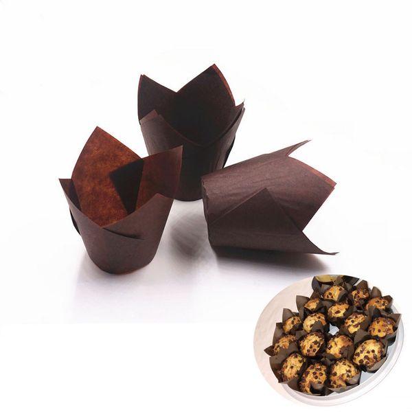 Hifuar 50Pcs / conjunto descartável Tulip Flower Chocolate Cupcake Wrapper decoração do bolo Ferramentas Baking Muffin Paper Liner Mold