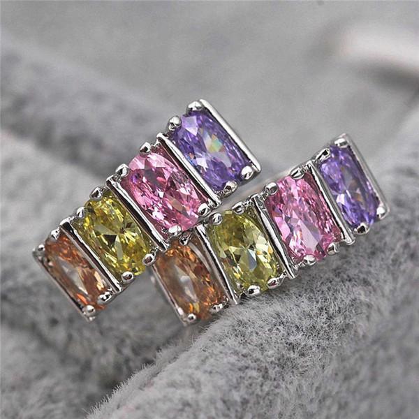 Luxus Creolen für Frauen Weißgold Gefüllt Ohrring Mit Regenbogen Zirkon Bunte Schmuck Für Frauen Jubiläum Engagement