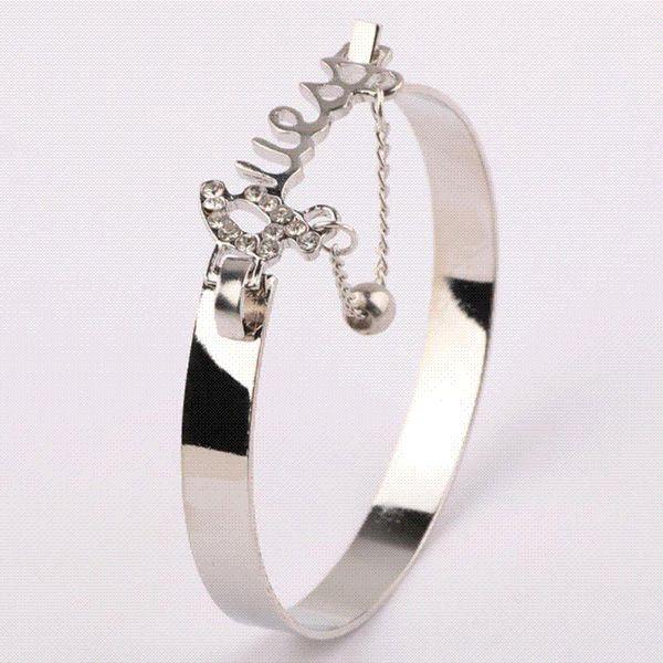 Мода ювелирные изделия любовь изысканный браслет аксессуар горный хрусталь декор стильный ручной цепи кольцо груза падения для девочек Dailwearing
