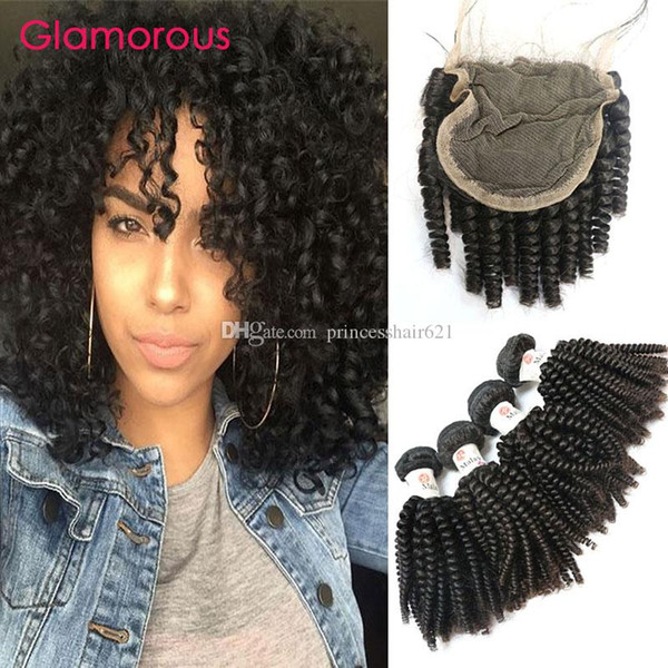 Glamorous Indian Spiral Curly Human Hair Weave with Lace Closure Free Part 4x4 Top Lace Closure and 4Bundles Indian Virgin Human Hair Weaves