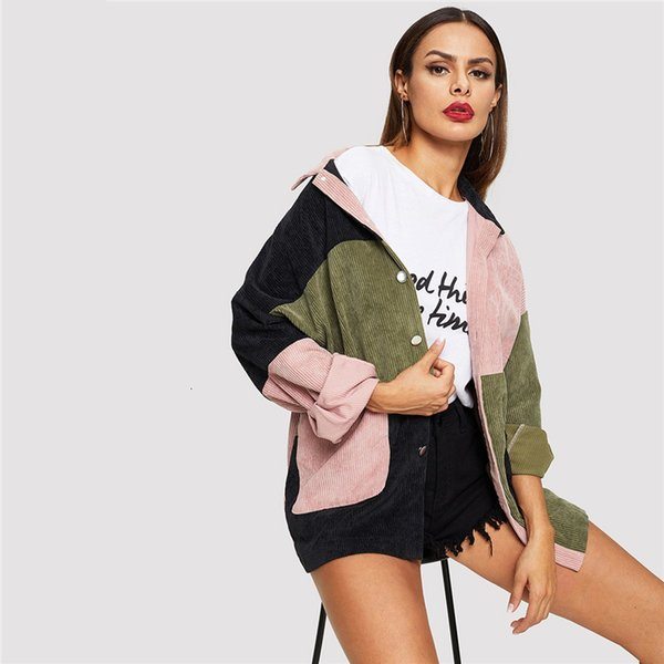 womens jacket womens coats multicolor casual colorblock cut and sew single breasted pocket front corduroy jacket autumn women coat