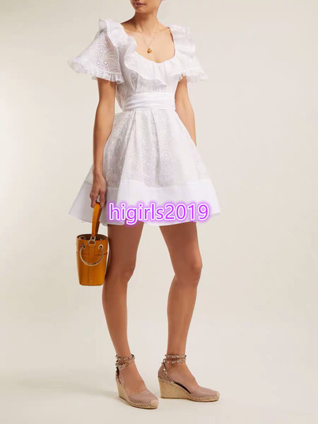 High end women girls floral hollow out midi dress with bow scoop neck high waisted short sleeve vintage shirt skirt summer runway dress