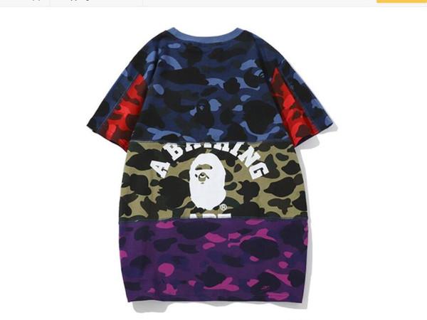 Toptan Yaz Tide Marka Genç Kamuflaj Renk Eşleştirme tişört Erkekler \ 'ın Casual Yuvarlak Yaka Gevşek Kısa Kollu T-shirt Baskı