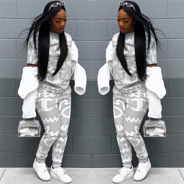 Champion Brand Дизайнер Спортивный Костюм Женщины Письмо Печатные Комплекты Одежды Весна Осень Наряд Мода Jogger Set Спортивная Одежда S-XL
