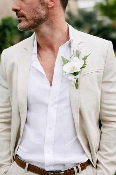 White Beige Linen Suit Men Blazer Beach Groom Wedding Men Suit With Pants Casual Slim Tuxedo Jacket Terno Masculino Custom Made