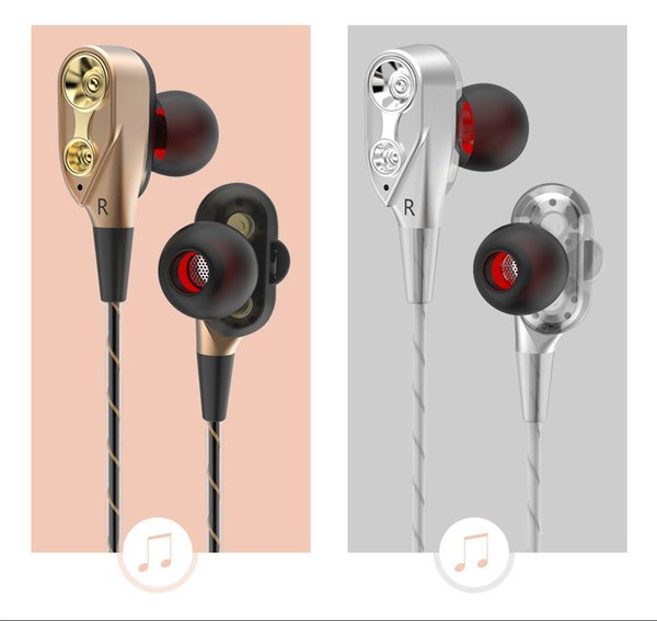 Double Dynamic HIFI Sport Headphones 3.5 Mm Earphones with High Fidelity Headset for Smartphone with Retail Box
