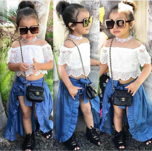 Compre Conjuntos De Ropa Para Niños Pequeños Ins Summer Girls Suit Encaje Pantalones Cortos De Mezclilla Swallows Falda Kids Girl Traje De Tres