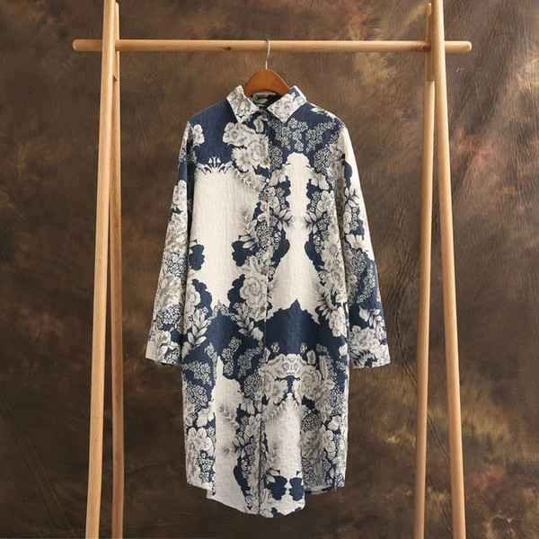 Ink Printing Cotton And Linen Long Shirt For Women Clothing Loose Retro Style Single Breasted Full Sleeve Floral Blouse Femme