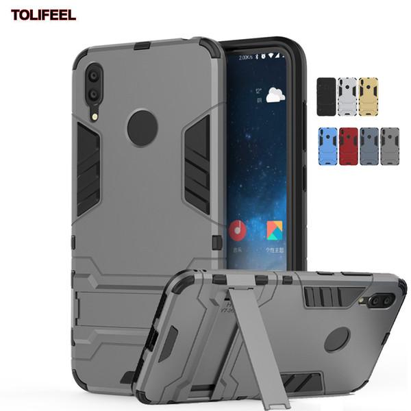 Для Huawei Y7 2019 Чехол Силиконовый Робот Броня Shell Protector Гибридный Прочный Резиновый Чехол Kickstand Жесткий ПК Противоударные Чехлы
