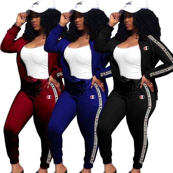 Women Champions Letter Designer Tracksuit Long Sleeve Hoodie Zipper Sweatshirt Coat Pants Leggings 2pcs Set Jogger Outfit Sportswear C8110 White Dhgate Com Imall Com
