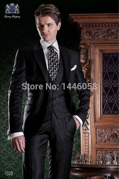 Handsome Deux boutons Groomsmen Notch Lapel smokings marié hommes Costumes de mariage / robe de bal / dîner Best Man Blazer (veste + pantalon + Tie + Gilet) 885