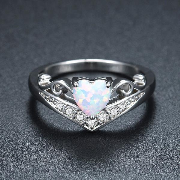 Mode Weiß Feueropal Naturstein herz Kristall Ringe Frauen Damen Ring Geschenke Schmuck Hochzeit Jubiläum ring dropship