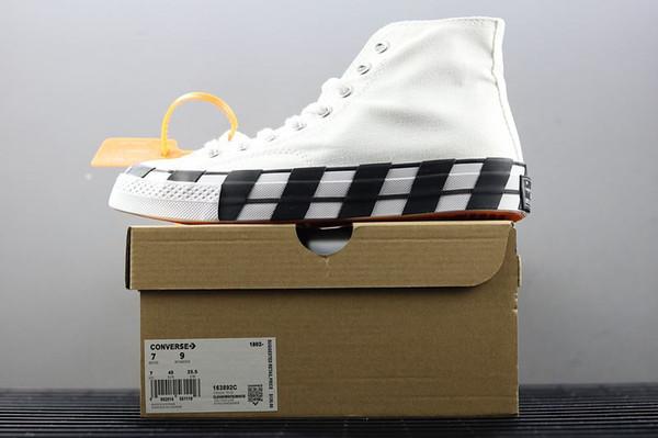 Off-White x Converse Más reciente Stripe OFF Chuck 70 White Bold Orange-Black SHOELACES Taylor 1970S Lienzo Hombres Mujeres Zapatos Corrientes Moda Casual Shoes Box