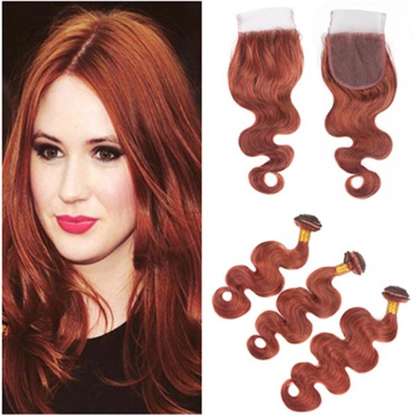 Бразильские человеческие волосы # 33 Медно-красная объемная волна 3 Пучки с застежкой 4шт / много Темно-рыжий Кружевная застежка 4x4 с переплетениями красновато-коричневых пучков