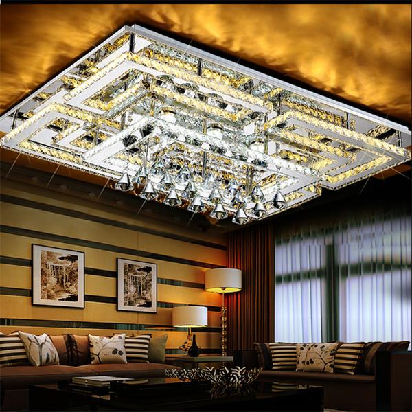 Moderno LED de cristal Luz de techo montada en el techo K9 Candelabros de cristal colgante de luz rectangular para la sala de estar dormitorio restaurante
