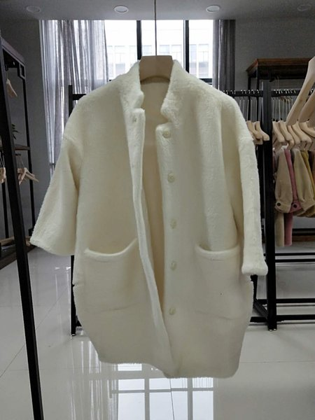 Jaqueta feminina longa seção 2019 outono e inverno novos modelos explosão solta casaco de veludo de ouro versão coreana do casaco de lã branca