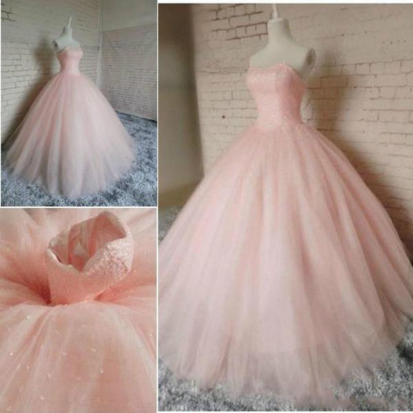 2019 Querida Rosa Neck vestido de baile Quinceanera Dresses Tulle doce 16 Lace up Voltar vestidos de festa Prom Ocasião Vestidos Vestidos especiais