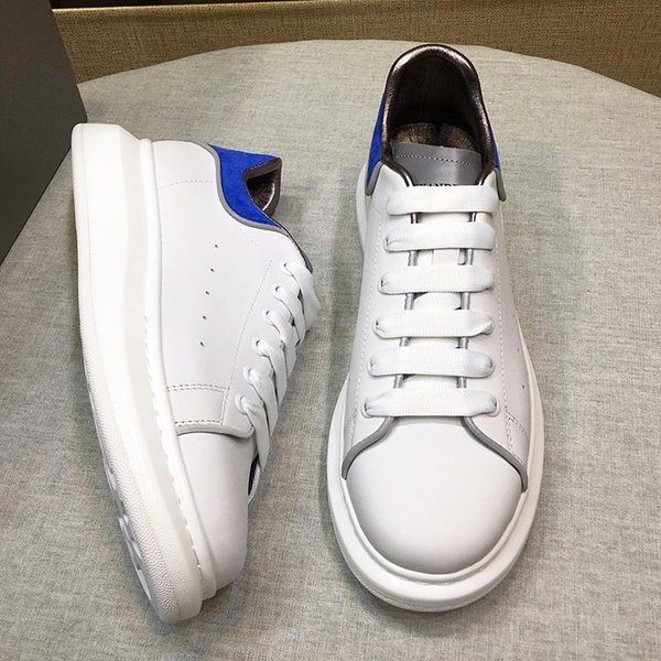 2019 new design mens casual shoes fashion mens leather lace platform oversized soles sports shoes white black casual shoes with original qh