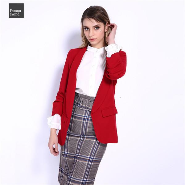 Воротник костюм Зубчатых Женщины куртка Candy Blazer 3 4 Ruched Sleeve Open Стич Ol Офис высокого качество Outwear 5color