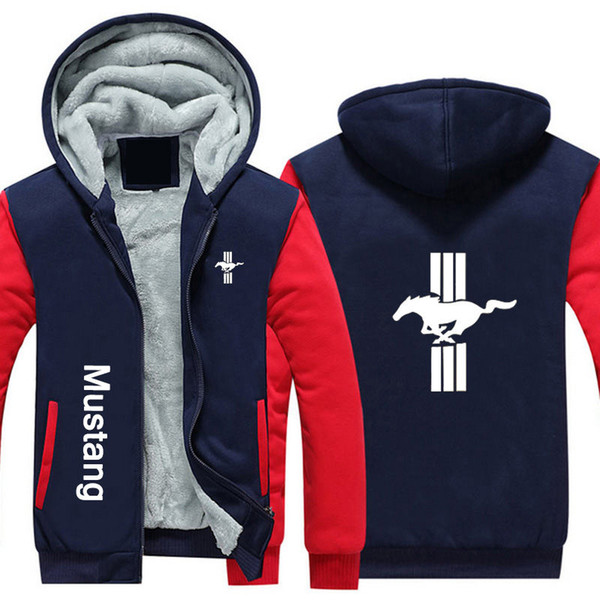 Mustang hoodies Auto Logos Print Winter Cashmere Hoodie Super Warm Jacket Verdicken Hoodie Zipper Hoodie Herren Baumwollmantel USA EU-Größe Plus Größe
