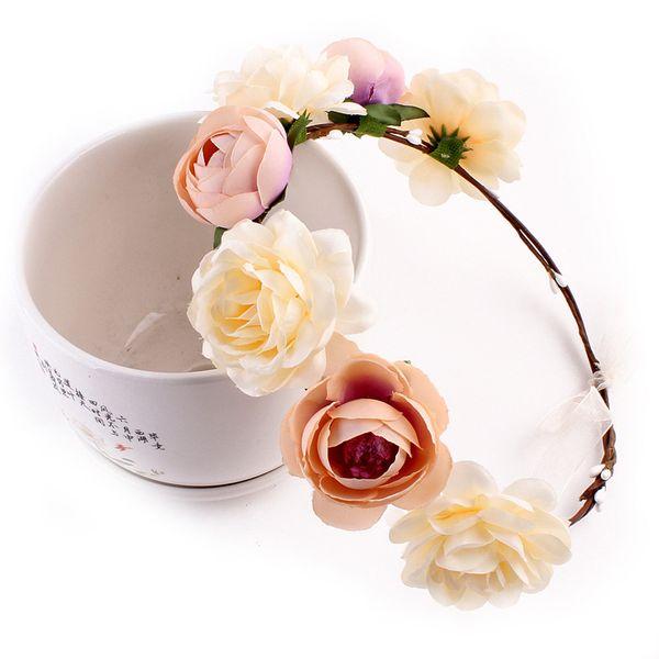 Flower Headbands For Girls Women Wedding Wreath Crown Headband New Spring Fashion Floral Garlands Hair Band Hair Accessories