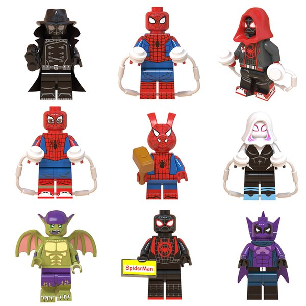 Avengers Super Hero Spider Man Into the Spider-Verse Peter Parker Green Goblin Miles Morales Building Block Brick Mini Toy Figure for kid