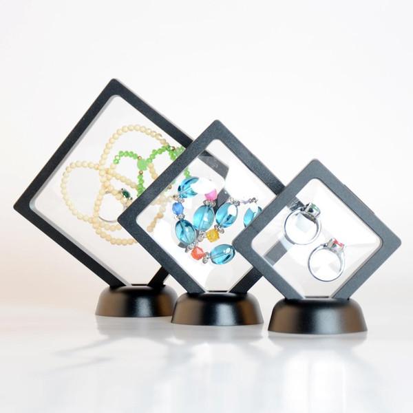 Phenovo Şeffaf 3D Yüzen Çerçeve Ekran Tutucu Kutusu Kolye Küpe Bilezikler için Takı ile Duruyor Takı Ambalaj Göster Raf