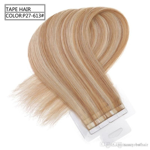 Tape In Human Hair extensions Skin Weft Hair Mixed Color 150g 60pieces Brazilian Hair Hablonde Double Sides Adhesive Cheap Free Shipping