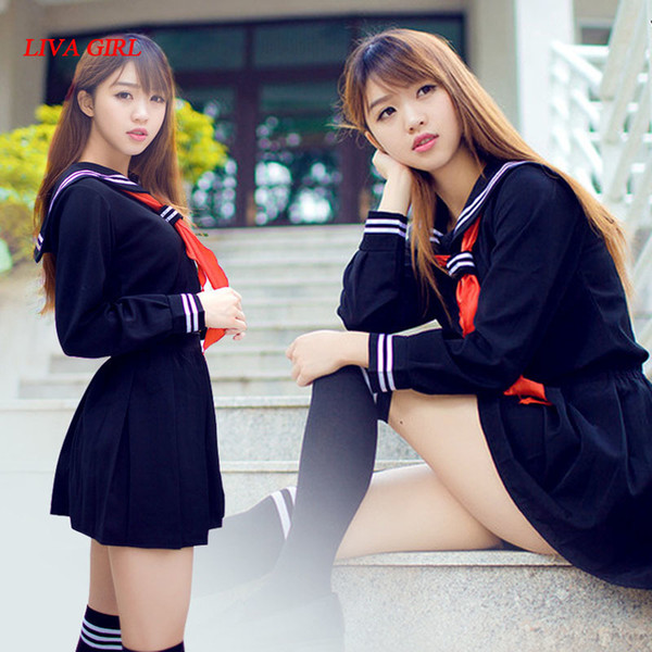 LG Japanese school uniform girls school class navy sailor school uniforms Hell Girl Enma ai Anime Cosplay girls suit C18122701