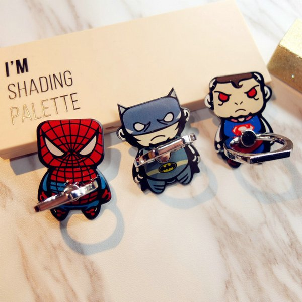 Universal Finger Ring Phone Holder Socket Captain America Superman Desktop Stand Phone Metal Mount Mobile Phone Holder Stand